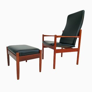 Danish Teak Armchair & Stool, 1960s, Set of 2