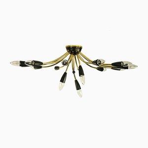 Lámpara de araña Sputnik en negro y latón