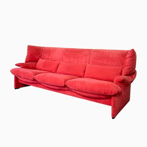 Portovenere Sofa in Cherry Red Velvet Soft Fabric by Vico Magistretti for Cassina, 1980s