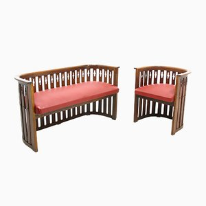 Vintage Viennese Oak Sofa and Armchair, Set 2