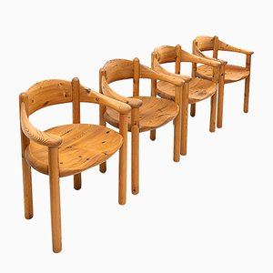 Chaises de Salon Carver en Bois de Pin par Rainer Daumiller, 1980s, Set de 4
