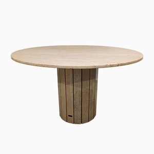 Round Travertine Dining Table from Jean Charles, 1970s