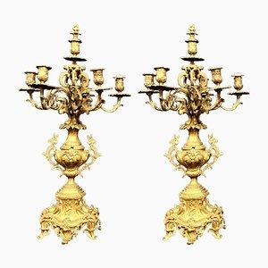 Large Napoleon III Candleholders, Set of 2