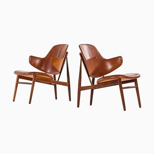 Danish Rosewood Model DP 9 Easy Chair by Ib Kofod-Larsen for Christensen & Larsen, 1950s, Set of 2