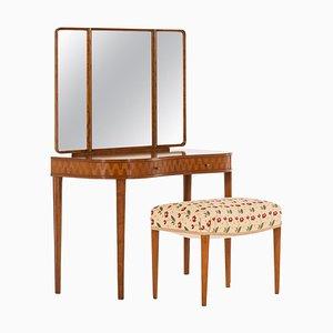 Table & Tabouret Modèle Leni Vanity de Nordiska Kompaniet, Suède, 1938, Set de 2