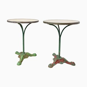 Late-19th Century French Bistro Tables with Marble Top, Set of 2