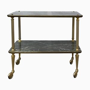 French Art Deco Faux-Marble and Brass Trolley, 1950s