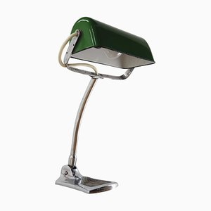 Art Deco Adjustable Bank Enamel Table Lamp, 1930s