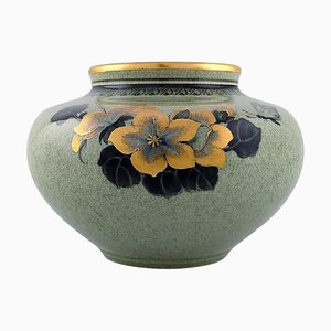 Royal Copenhagen Vase in Crackled Porcelain with Gold Decoration, 1920s