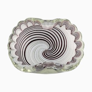Italian Murano Bowl in Mouth Blown Art Glass with Spiral Design, 1960s