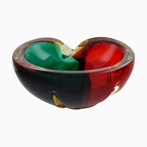 Italian Murano Bowl in Red and Green Mouth Blown Art Glass, 1960s