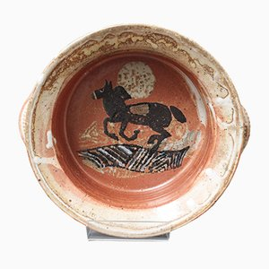 French Decorative Ceramic Bowl with Horse Motif, 1950s