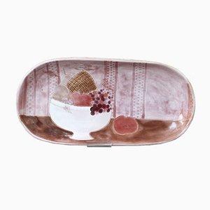 Dekoratives Dekoratives Keramik Tablett in Rosa mit Still Life Motiv von Frères Cloutier, 1960er