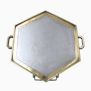 Sechseckiges Servier Tablett aus Aluminium & Messing im Brutalistischen Stil von David Marshall, 1970er