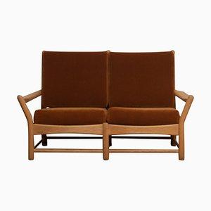 Danish Sofa Oak and Brown Velvet Lounge Sofa, 1950s