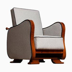 Scandinavian Art Deco Lounge Chair in Silver Grey on Walnut, 1920s