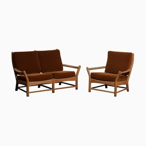 Danish Oak and Brown Velvet Sofa and Chair Lounge Set, 1950s, Set of 2