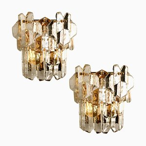 Palazzo Wall Light Fixtures in Gilt Brass and Glass by J.T. Kalmar, 1970s, Set of 2