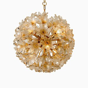 Large Brass and Gold Murano Glass Sputnik Chandelier by Paolo Venini for VeArt, 1969