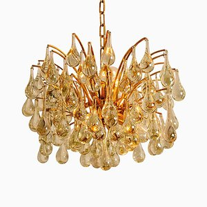 Large Brass and Crystal Chandelier by Christoph Palme, Austria, 1960s