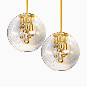 Space Age Brass and Blown Glass Lights from Doria Leuchten, Germany, Set of 2