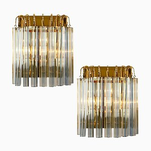 Murano Glass and Gilt Brass Sconces with Grey Stripe in the Style of Venini, Italy, 1970s, Set of 2