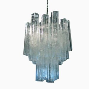 Lámpara de araña italiana de cristal de Murano tubular
