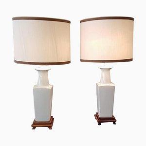 Lampes de Bureau Chinoiserie en Céramique Blanche, 1920s, Set de 2