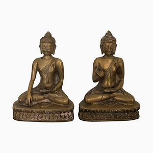 Vintage Golden Brass Buddha Bookends Bookcase Decoration, 1940s, Set of 2