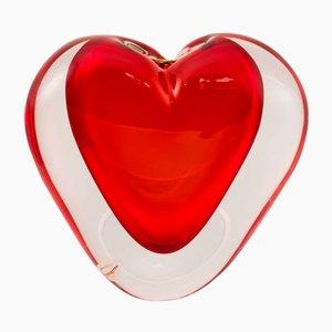 Scultura in vetro di Murano rosso a forma di cuore di Cenedese