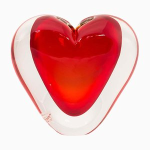 Murano Glass Sommerso Red & Clear Color Heart-Shaped Sculpture from Cenedese