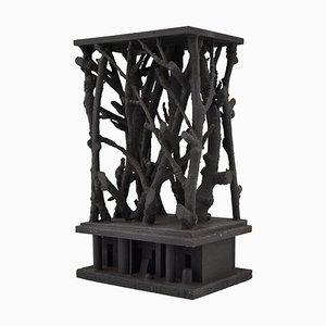 Schwarze Mid-Century Skulptur aus Holz mit Zweigen von André Pailler, 1970er