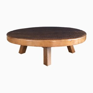 Mid-Century Round Rustic Solid Oak Coffee Table, 1960s
