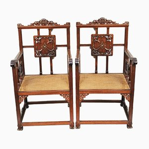 19th-Century Carved Armchairs, Set of 2