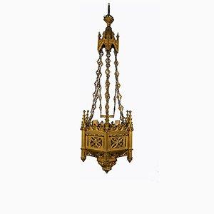 Gotischer Kronleuchter aus vergoldeter Bronze