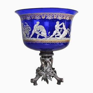 Emaillierte blaue Glasschale von Christofle