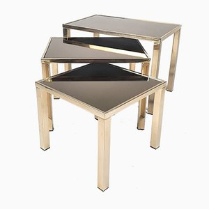 Vintage 24k Gold-Plated Nesting Tables from Belgo Chrom / Dewulf Selection, Set of 3