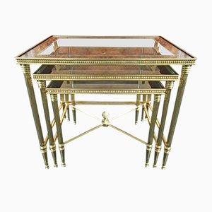 Tables d'Appoint Mid-Century en Laiton & Verre avec Cadres en Verre par Maison Bagues pour Maison Baguès, Set de 3