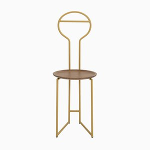 Joly II Chairrope mit Gestell aus golden lackiertem Metall und Canaletto Teller aus Nussholz von Colé