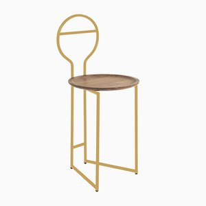 Joly I Lowback Dumb Waiter with Gold Lacquered Metal Structure and Canaletto Walnut Plate from Colé