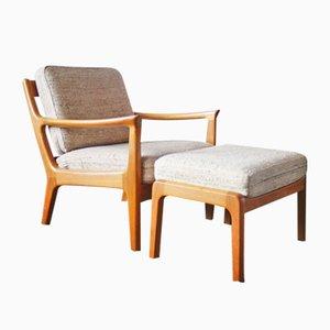 Dänische Mid-Century Sessel & Fußhocker aus Teak von Juul Kristensen, 1960er