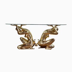 Sculptural Brass and Glass Coffee Table