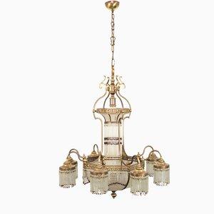Vintage Brass 10-Light Chandelier, 1950s