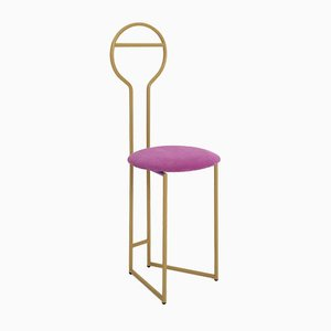 Joly IV Chairdrobe - High Back Gold Lacquered Metal Structure with Upholstered Seat in Italian Fine Velvet