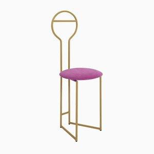 Joly IV Chairrobe - Gold Lackierte Metallkonstruktion mit hoher Rückenlehne und gepolstertem Sitz aus italienischem Feinem Samt