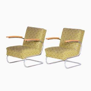 Bauhaus Chrom Armlehnstühle mit Rohrrahmen von Mücke Melder, 1930er, 2er Set