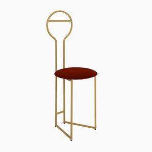 Joly IV Chairdrobe - Estructura de metal dorado lacado con asiento tapizado en rojo de terciopelo italiano