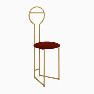 Joly IV Chairdrobe - High Back Gold Lacquered Metal Structure with Upholstered Seat in Red Italian Fine Velvet