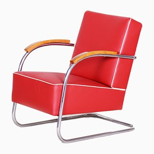 Red Tubular Steel Cantilever Chrome Armchair from Mücke Melder, 1930s