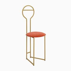 Joly IV Chairdrobe - Estructura de metal dorado lacado con asiento tapizado de terciopelo italiano anaranjado